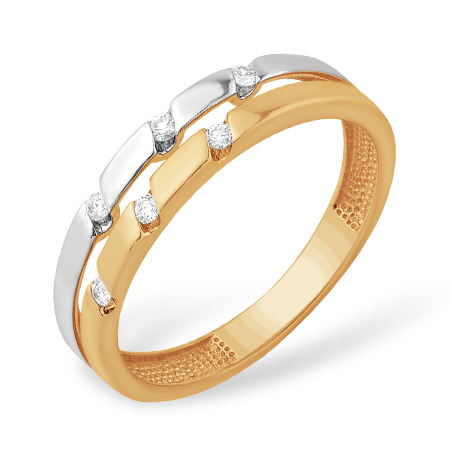 Двойное кольцо из золота с бриллиантами