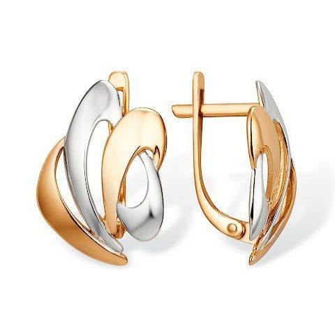 Золотые серьги без вставок с родиевым покрытием