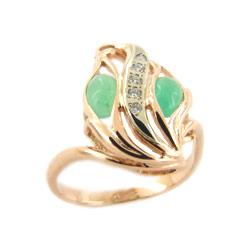 Кольцо из золота с хризопразами и фианитами