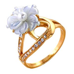 Кольцо из золота с белым перламутром, жемчугом и фианитами