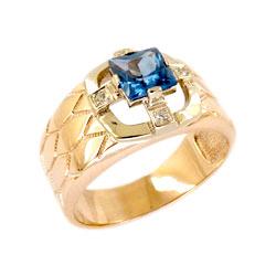 Мужское кольцо из золота с Лондон топазом и фианитами