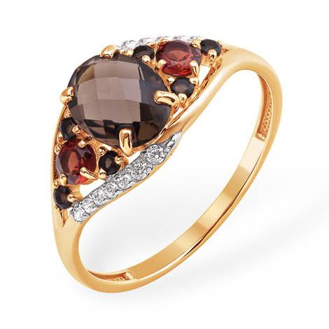 Золотое кольцо с раух-топазами, гранатами и фианитами