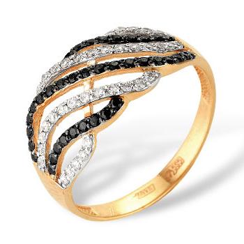 Кольцо из золота с белыми и черными фианитами