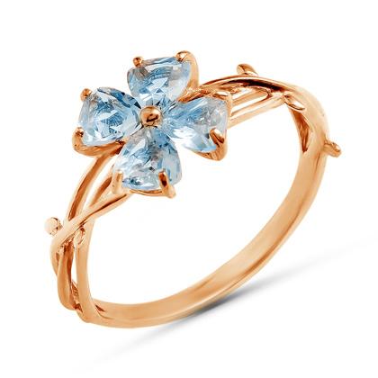 """Золотое кольцо """"цветок"""" с топазами"""