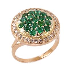 Кольцо из золота с наноизумрудами и фианитами