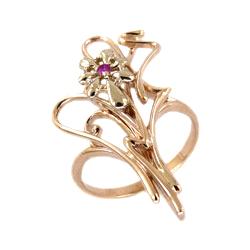 Кольцо из золота с розовым фианитом
