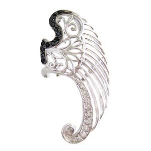 """Кольцо """"крыло"""" из серебра с фианитами"""
