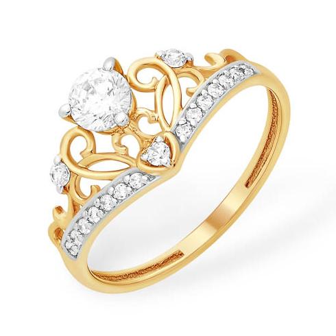 Ажурное кольцо из золота с фианитами из золота