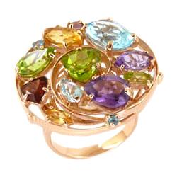 Кольцо из золота с аметистами, гранатом, топазами, хризолитами и цитринами