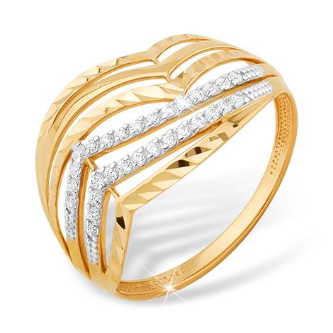 Кольцо из красного золота с фианитами и алмазной гранью