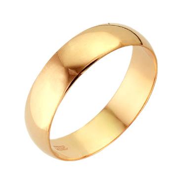 Обручальное кольцо из золота бухтированное