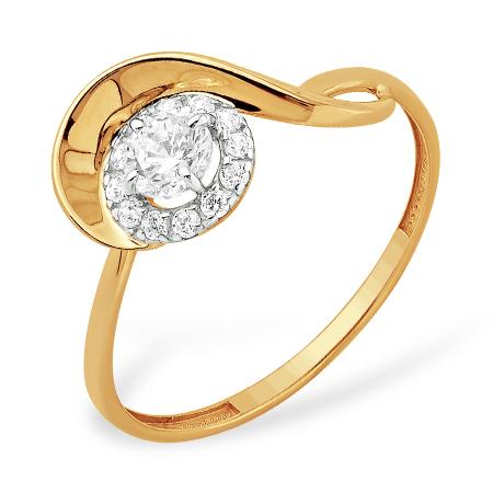 """Золотое кольцо """"скрипичный ключ"""" с кристаллом Swarovski и фианитами"""