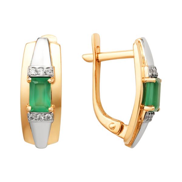 Легкие золотые серьги с зелёным агатом и фианитами
