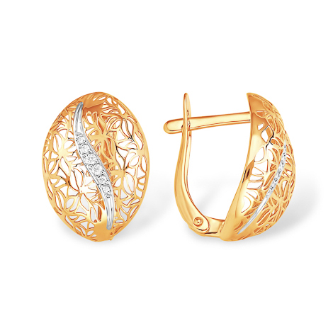 Золотые серьги с узорами и фианитовой дорожкой