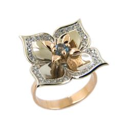 """Кольцо """"цветок"""" из белого и красного золота с топазом и фианитами"""