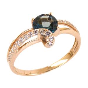 Кольцо из золота с Лондон топазом и фианитами