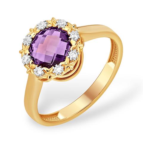 Золотое кольцо с круглым аметистом и фианитами