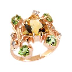 Кольцо из золота с цитрином, хризолитами и фианитами