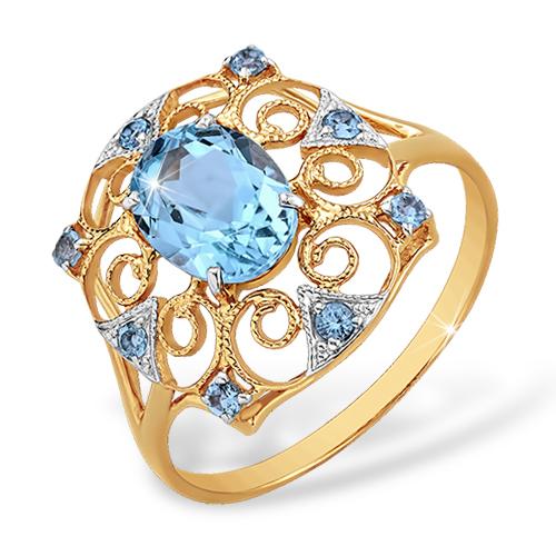 Ажурное кольцо с филигранью и голубыми топазами