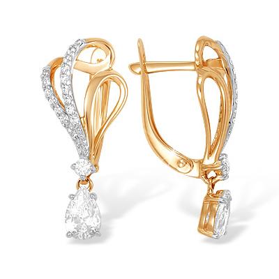 Серьги из золота с подвесным фианитом