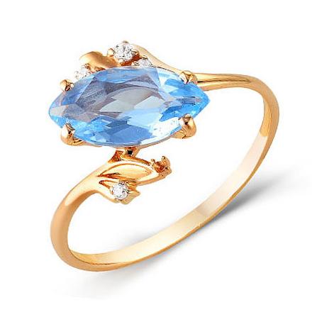 Золотое кольцо с голубым топазом и фианитами