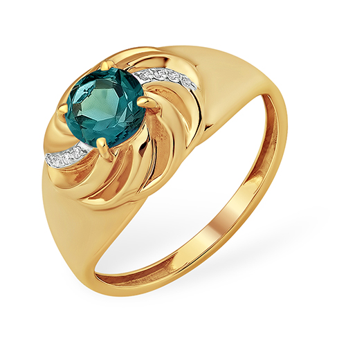 Золотое широкое кольцо с лондон топазом и фианитами