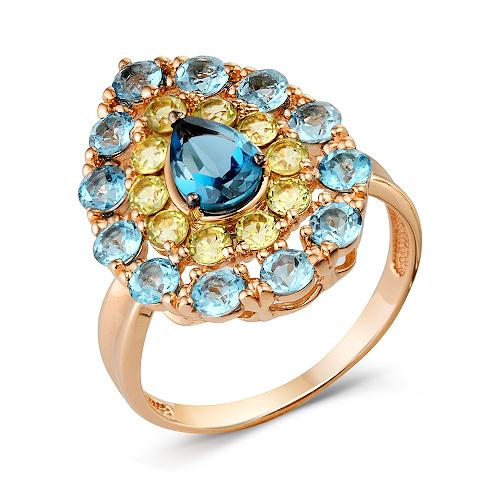 Золотое крупное кольцо с лондон топазом, хризолитами и топазами