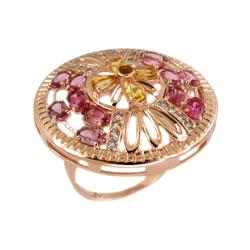 Кольцо из золота с родолитами, цитринами и фианитами