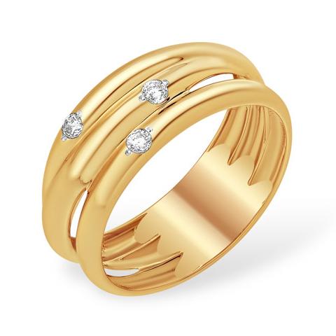 Широкое оригинальное кольцо из нескольких колец с фианитами