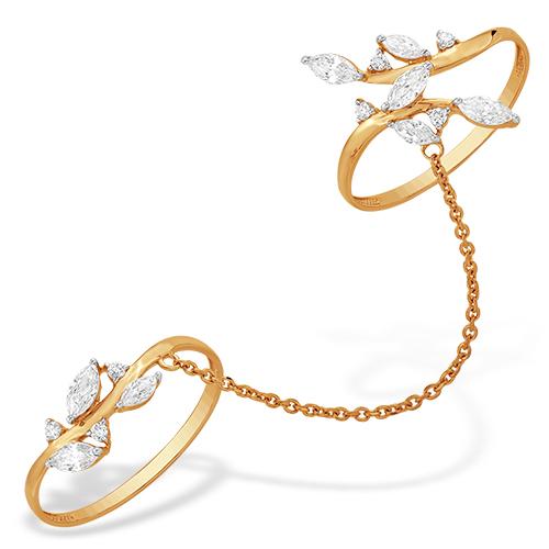 Золотое кольцо с цепочкой на два пальца