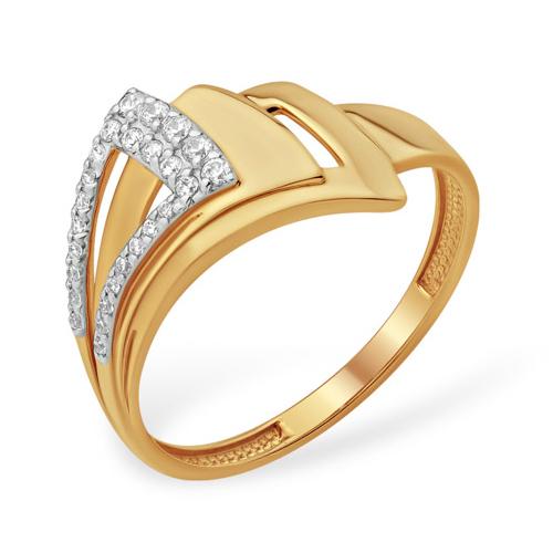 Оригинальное золотое кольцо с фианитами
