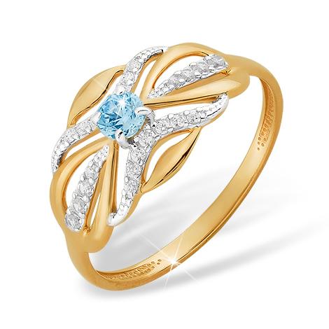 Кольцо из золота с голубым и белыми фианитами