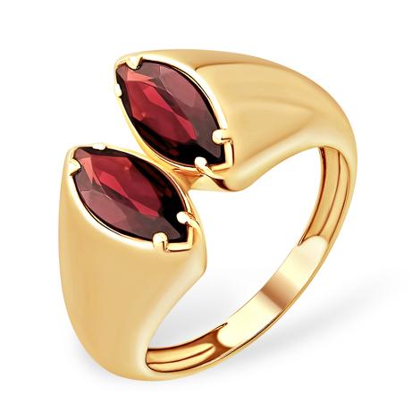 Необычное кольцо с гранатами из золота