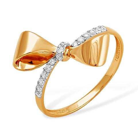 """Золотое кольцо """"бант"""" с фианитами"""