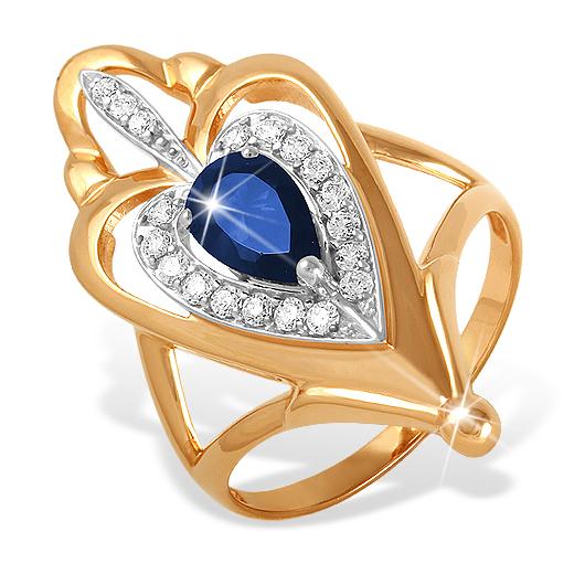 Элегантное кольцо с крупным синим и белыми фианитами
