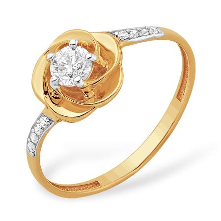 """Кольцо """"роза"""" из золота с кристаллом Сваровски и фианитами"""