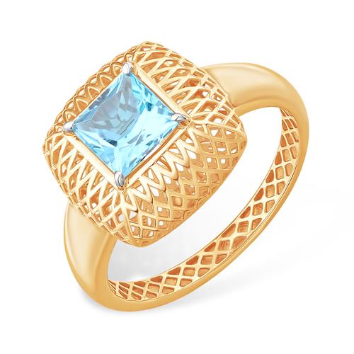 Лёгкое и объёмное кольцо из золота с квадратным топазом