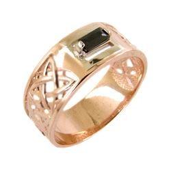 Мужское кольцо из золота с черным фианитом