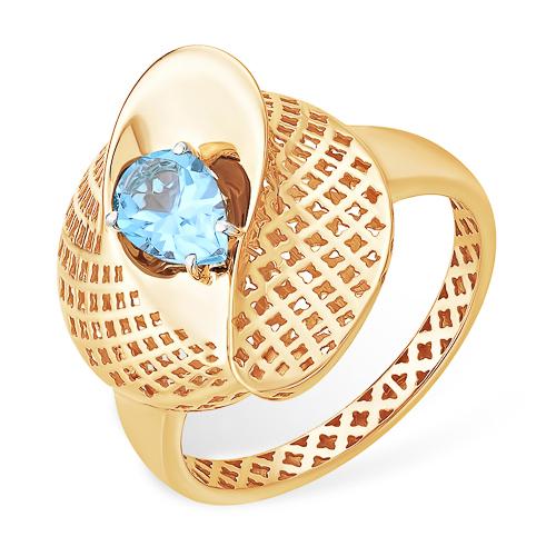Объёмное золотое ажурное кольцо с топазом