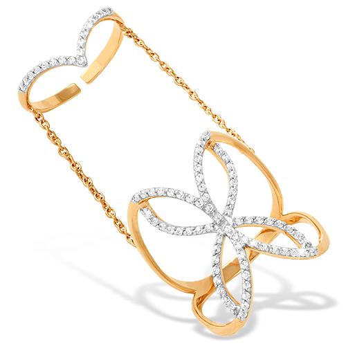 Кольцо на две фаланги из красного золота с фианитами