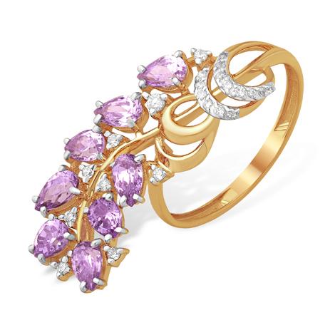 Золотое кольцо с веточкой из аметистовых фианитов