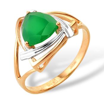 Кольцо из комбинированного золота с зеленым агатом