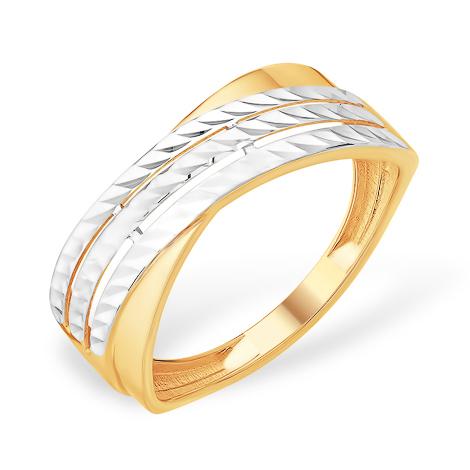Широкое золотое кольцо с родированием