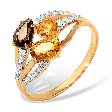 Кольцо из золота с цитринами, раух-топазом и фианитами
