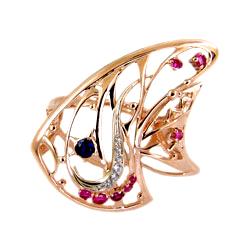 """Кольцо из золота """"рыбка"""" с цветными фианитами"""
