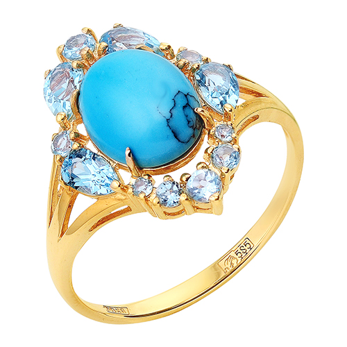 Золотое кольцо с бирюзой и топазами