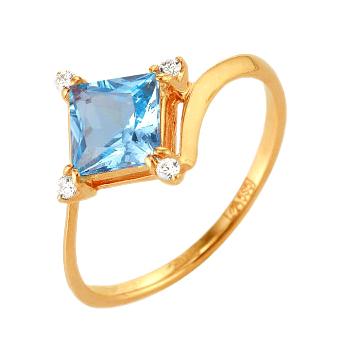 Кольцо из золота с квадратным топазом и фианитами