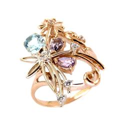 Кольцо из золота с топазом, аметистами и фианитами