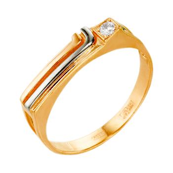 Мужское кольцо из комбинированного золота с фианитом