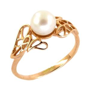 Кольцо из золота с белым жемчугом